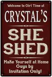 CRYSTAL'S She Shed Red Sign Personalized Lady Cave Metal Sign 108120088105