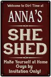 ANNA'S She Shed Red Sign Personalized Lady Cave Metal Sign 108120088036