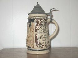 Vintage German Beer Stein Pewter Hinged Top Numbered Base Pottery Nice Condition