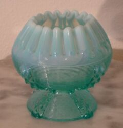 Northwood Button Panels Blue Opalescent Footed Novelty Rose Bowl $42.00