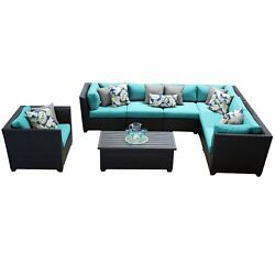 Meridian 8 Piece Outdoor Patio Wicker Sectional with Arm Chair and Storage Table
