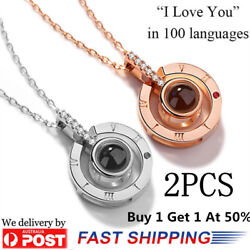 2 PCS - I LOVE YOU in 100 languages 18K Gold Pendant Necklace For Memory of LOVE