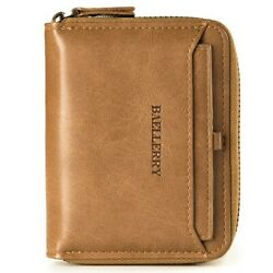 Men#x27;s Leather Bifold Credit ID Card Holder Wallet with Zipper Coin Pocket Purse $9.99