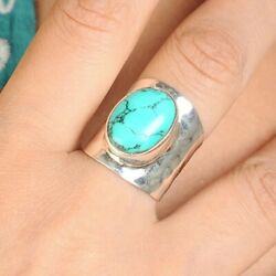 Big Turquoise Ring Sterling Silver Large Hammered Wide Band Bohemian Size 7 8 9 $34.94