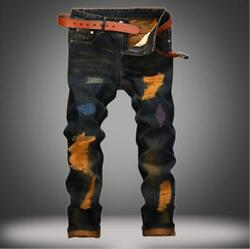 Casual Embroidery men hole personality Retro jeans Slim straight denim pants $47.68