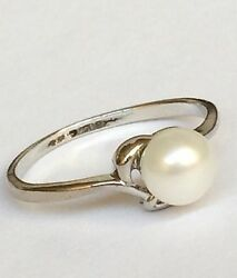 Silver White Pearl Ring Plated Dainty Solitaire Size 5 6 7 8 Vintage Style