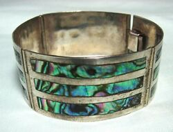 JPM 925 Mexican Silver Abalone Bracelet old eagle mark #2  24.5 grams