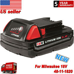 NEW For Milwaukee M18 18-Volt 48-11-1820 M18B Lithium-Ion 2.0 Ah Compact Battery $22.99