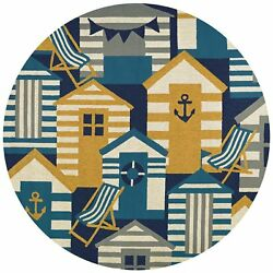 Outdoor Escape Beach Hut Navy-Multicolor Round IndoorOutdoor Rug - 7'10
