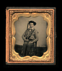 Excellent 16 Ruby Ambrotype Armed Confederate  Civil War Soldier
