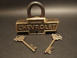Antique Vintage Style Brass amp; Iron Trunk Chest Box Chevrolet Chevy Lock Padlock $48.00