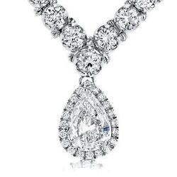 Pear and round diamond women necklace pendant gold jewelry 27 ct      WG13774