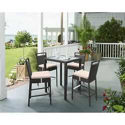 Armen Living Tropez Outdoor Patio Wicker Bar Set (Table with 4 barstools)