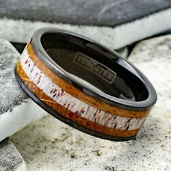 8mm Tungsten Deer Antler & Whiskey Barrel Wood Wedding Band Ring Jewelry TW