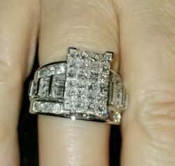 Cocktail Ring w Princess Baguette & Round Diamonds TW 4 Carats 14kt White Gold