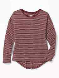 NWT OLD NAVY GIRLS SHIRT TOP tee stripes burgundy maroon you pick size $4.50