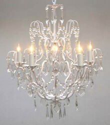 Wrought Iron Crystal Chandelier Lighting Country French White Ceiling Fixture $113.52