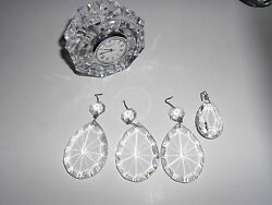 3quot; TEARDROP LEADED ANTIQUE PRISMS 2 GORGEOUS THICK HOLLYWOOD REGENCY $29.00