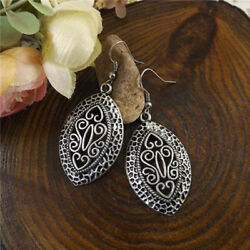 Ethic Style Women Silver Vintage Hollow Flower Carved Drop Dangle Earrings DB