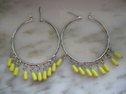 NINE WEST SILVER TONE HOOP PIERCED EARRINGS with YELLOW BEAD DANGLES