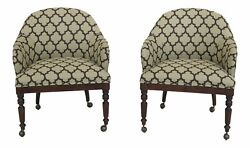 L46898EC: Pair CENTURY Geometric Print Upholstered Club Chairs $1195.00