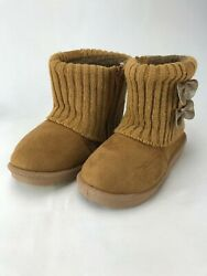 Ameta Knit Boots Kids Lined Sz Y 11 Bows $10.76