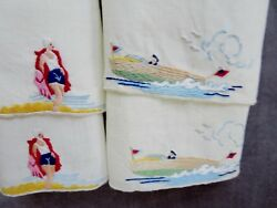 4 MADEIRA Nautical Small Towels: He in vintage Motor Boat She in Bathing Suit
