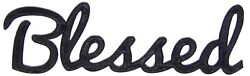 Blessed Word Art Sign Home Kitchen Decor Wall Hanging Cursive Script Typography $9.99