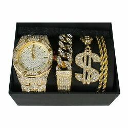 ICED OUT BLING Watch Bracelet CHAIN PIMP Old School RAPPER COSTUME JEWELRY Gold