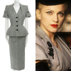 runway JOHN GALLIANO SS95 houndstooth ruched sleeve padded hip set Madonna S