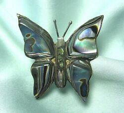 SJB Mexican Silver Abalone Butterfly Pin 5.8 grams  old eagle mark #3