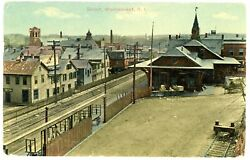 Woonsocket RI VIEW AT RAILROAD DEPOT Postcard Rhode Island $12.75