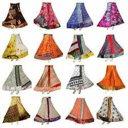 Wholesale Indian Vintage Silk Saree Wrap Skirt for Women Boho Sari Magic Skirts $14.25