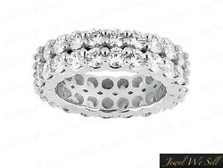 6.00Ct Round Diamond Double Row Eternity Anniversary Band Ring 18k G SI1 Prong