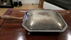 Vintage EPC 270 Silver Plated Silent Butler Wood Handle Covered Tray