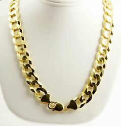 118.90gm 14k Yellow Solid Gold Men's Flat Cuban Necklace Heavy Chain 26