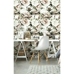Blooming Peonies wall Non Woven pale wallpaper Peony blush bouquet Floral Mural $239.00