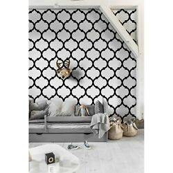 Moroccan wall Non Woven wallpaper Black and white minimalist Traditional Mural $13.00
