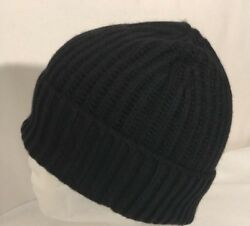 NWOT Andrew Stewart Men's Ribbed Knit Wool & Cashmere Cuffed Beanie Black