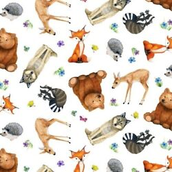 Magic Forest Cute Animals Raccoon Hedgehog Wolf White Cotton Fabric Fat Quarter