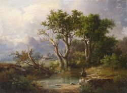 Large art Oil painting male portrait seated by pond in landscape amp; trees canvas $84.99