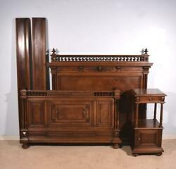 Antique French Renaissance Revival Queen or Full Size Bed & Nightstand in Walnut