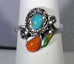 Sterling - . 925 - Red Blue and Green Copper Turquoise Ring - SALE 70% OFF