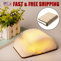Rechargeable LED Wooden Book Shape Desk Lamp Night Light Booklight Portable