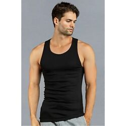 3-6-12 Pack Athletic Mens A-Shirt Tank Tops 100% Cotton BLACK $10.25