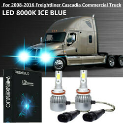 LED Headlight bulbs For 08-2016 Freightliner Cascadia Commercial Truck ice Blue