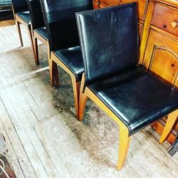 Vintage 4 LeatherWood Arper Chairs Mid century Modern Made In Italy. Beautiful $599.00