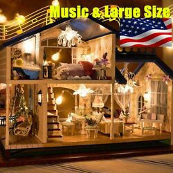 Newest Musical Diy Dollhouse Doll House Miniature Room Kit Toy Furniture Gift US