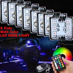 8PCS LED Multi-Color Neon Rock Lights Wireless Remote Truck Pickup Jeep Offroad
