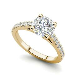 Pave Cathedral 3 Carat SI1D Round Cut Diamond Engagement Ring Yellow Gold